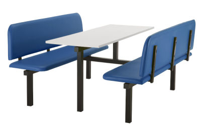 6 Person Double Access Fast Food Bench Unit With Blue Vinyl Seating And White Table