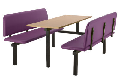 6 Person Single Access Fast Food Bench Unit With Purple Vinyl Seating And Beech Table