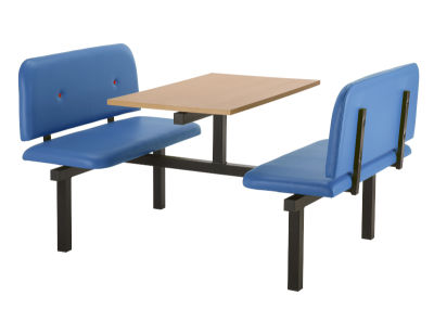 4 Person Double Access Buttoned Bench Seating Dining Unit With Blue Vinyl Seats And Beech Top