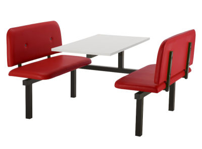4 Person Single Access Buttoned Bench Seating Dining Unit With Red Vinyl Seats And White Top