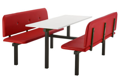 6 Person Double Access Buttoned Bench Seating Dining Unit With Red Vinyl Seats And White Top