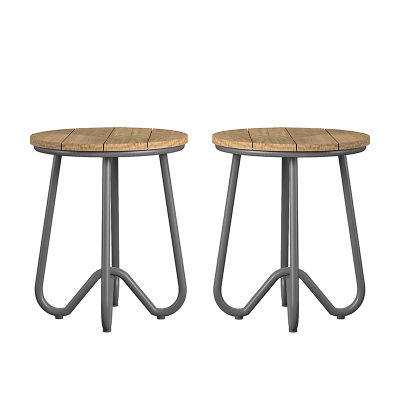 Set Of Two Retro Outdoor Bistro Stools With Synthetic Wooden Seat And Steel Frame