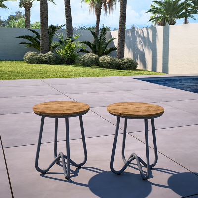 Two Retro Outdoor Bistro Stools Available With Turquoise, Charcoal Or Yellow Steel Frame