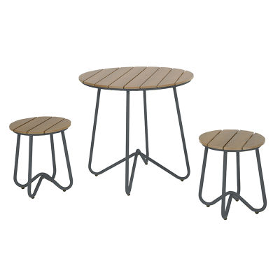 3 Piece Outdoor Bistro Set With Synthetic Wooden Seat And Tops - Stylish Retro Frame In Three Colours
