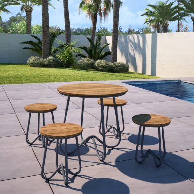 Outdoor 5 Piece Retro Patio Table & Stool Set