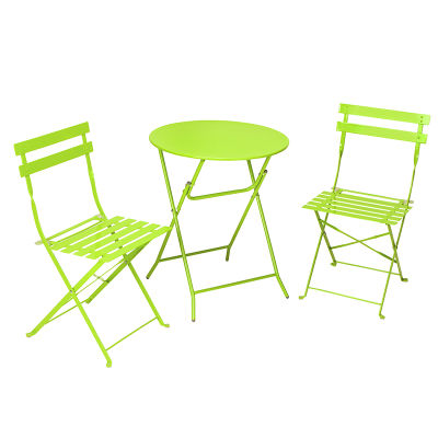 3 Piece Outdoor Folding Steel Table And Chairs Set In Green