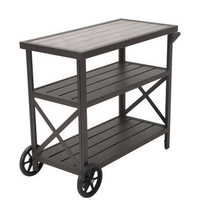 Rustic Dark Brown Aluminium Three-shelf Serving Cart