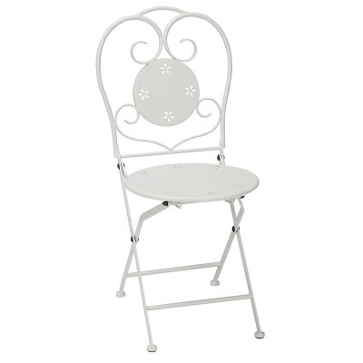 3 Piece Folding Chair With Powder Coated White Metal Frame