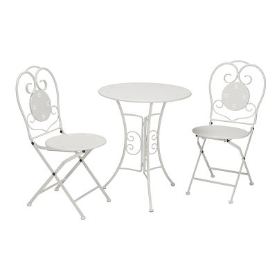 3 Piece Folding Metal Table And Chairs With Floral Pattern