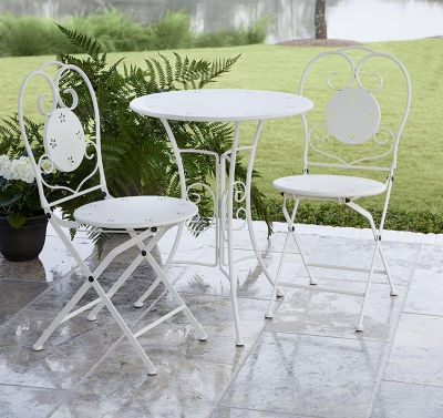 3 Piece Folding Steel Table And Chair Set With Decorative Flower Pattern