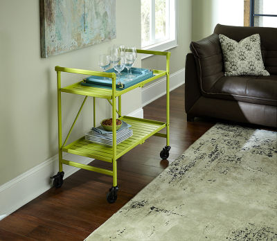 Apple Green Folding Metal Serving Cart - Indoor And Outdoor Use