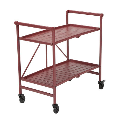 Folding Outdoor Metal Serving Cart In Powder Coated Ruby Red