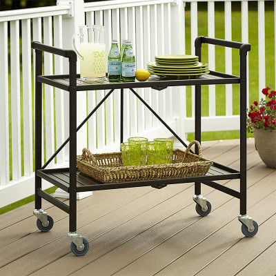 Folding Outdoor Serving Cart In Sandy Brown