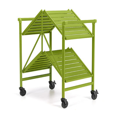 Outdoor Folding Serving Cart With Slatted Shelves In Apple Green