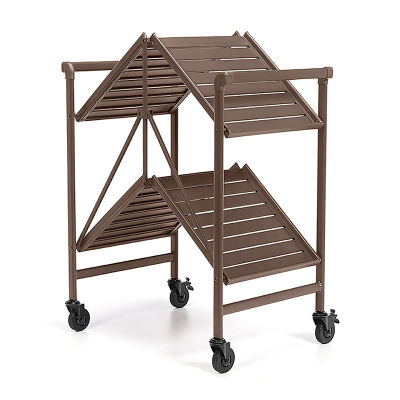 Sandy Brown Folding Metal Serving Cart With 4 Wheels