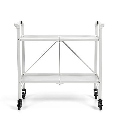 1 Folding Metal Serving Cart With Solid Shelving In White