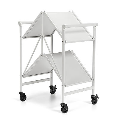2 Folding Metal Serving Cart With Solid Shelving In White - Folded View