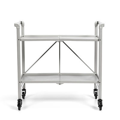 3 Folding Metal Serving Cart With Solid Shelving In Silver