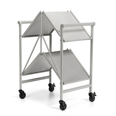 4 Folding Metal Serving Cart With Solid Shelving In Silver - Folded View