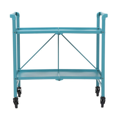 5 Outdoor Folding Metal Serving Cart With Solid Shelving In Teal