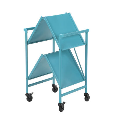 6 Folding Metal Serving Cart With Solid Shelving In Teal - Folded View White Bg