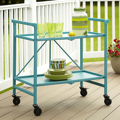 7 Folding Metal Serving Cart With Solid Shelving In Teal