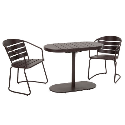 1 3 Piece Brown Metal Patio Table And Chair Set