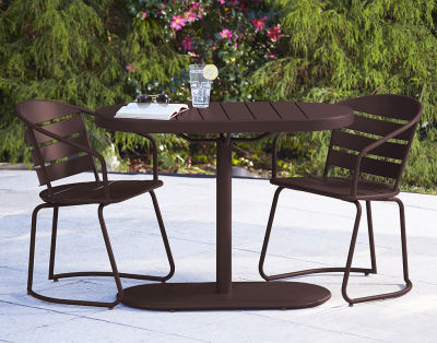 6 Retro Brown Metal Patio Table And Chair Set