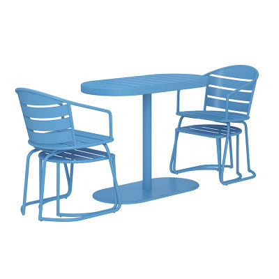 Nesting Five Piece Turquoise Furniture Set - Nested Side Shot