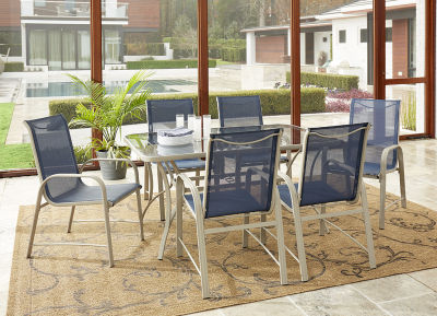 7 Piece Furniture Set Navy Seat Sling And Sand Frame