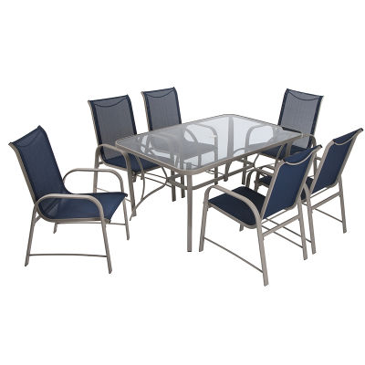 7 Piece Furniture Set Navy Seat Sling And Dark Grey Frame
