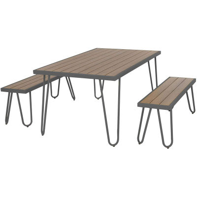 Steel-framed Table And Bench Dining Set - Charcoal
