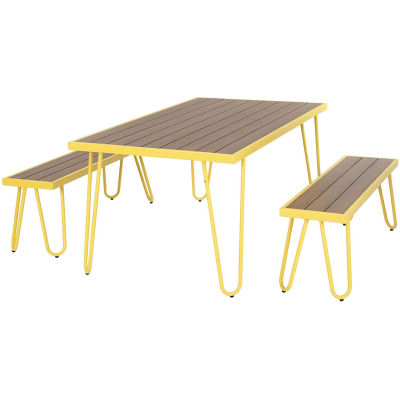 Steel-framed Table And Bench Dining Set - Yellow