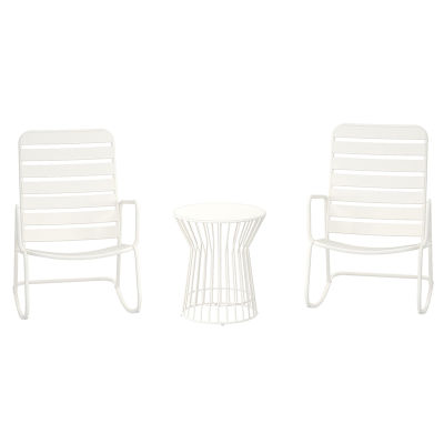 1 - Rocking Chair And Table 3 Piece Furniture Set - Indoor & Outdoor Use - White