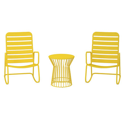 2 - Indoor & Outdoor Rocker Set With 2 Chairs And 1 Table - Yellow