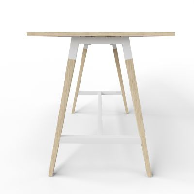 4 Person High Table - Side View - Oak Top