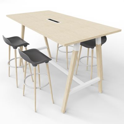4 Person High Table With Grey Stools - Electric Panel - Oak Top