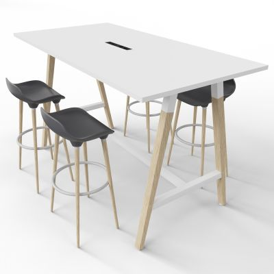 4 Person High Table With Grey Stools - Electric Panel - White Top