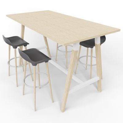 4 Person High Table With Grey Stools - Standard Panel - Oak Top