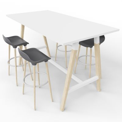 4 Person High Table With Grey Stools - Standard Panel - White Top