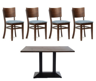 4 Walnut Chairs And Rectangular Table