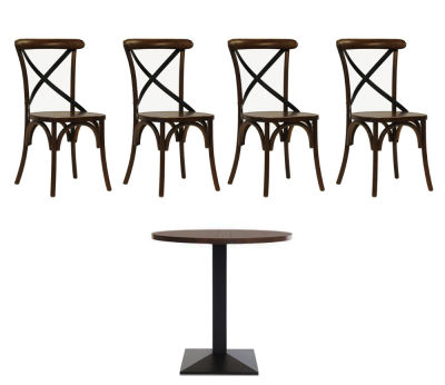 4 Open Back Walnut Chairs And Circular Table
