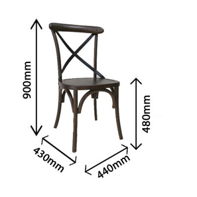Liberty Walnut Dining Chair Front Angle Dimensions
