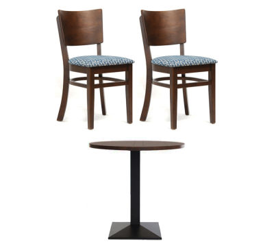 2 Walnut Chairs And Circular Table