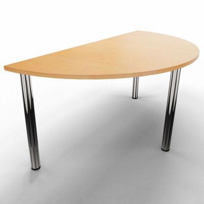 Half Moon Modular Table - Beech With Chrome Legs