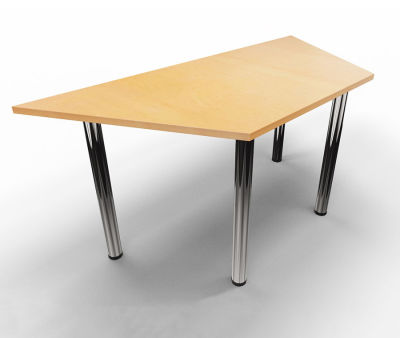 Trapezoid Modular Table - Beech With Chrome
