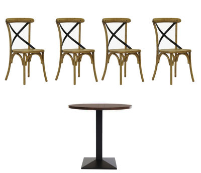 4 Weathered Oak Chairs And Walnt Circular Table