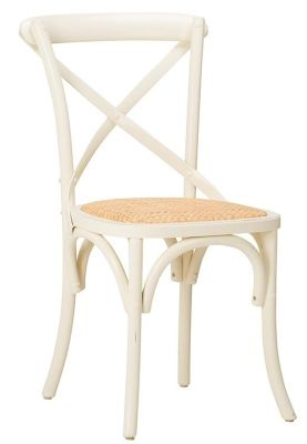 Herson Distressed Cream Bistro Chair Front Angle View
