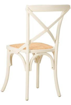 Herson Distressed Cream Bistro Chair Rear Angle View