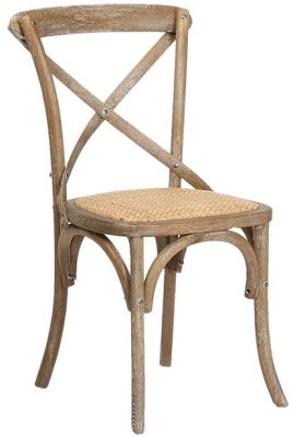 Herson Wooden Bitro Chair In A Oak Finish With A Natural Hessian Seat Front Angle View